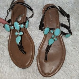 Turquoise stone sandals